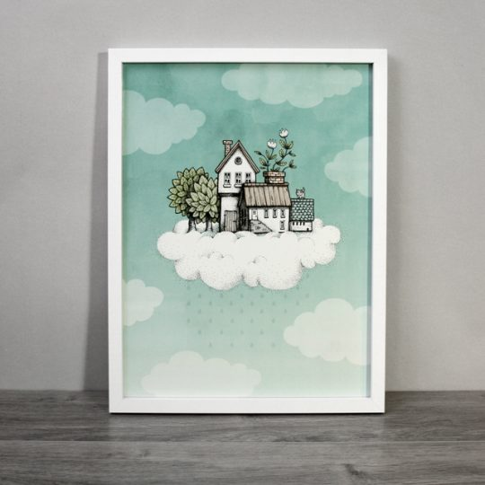 Poster, Illustration Hus på moln, 30x40 cm