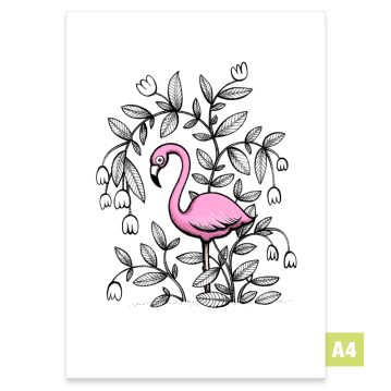 A4 print av illustration Flamingo