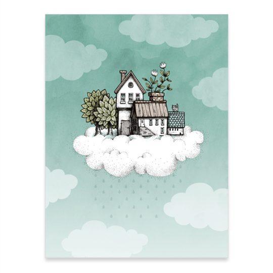 print av illustrationen Hus på moln, 30x40 cm