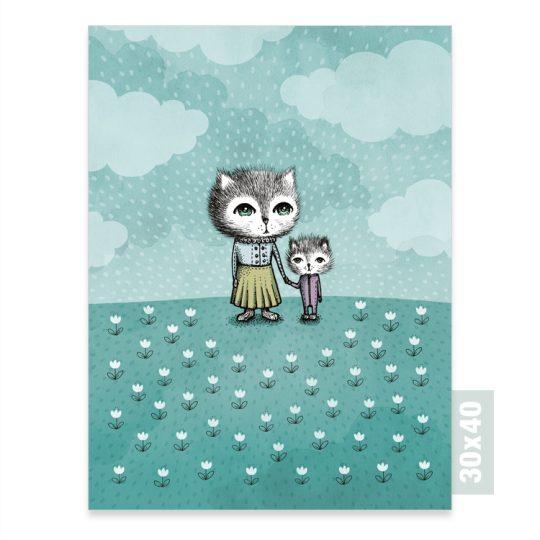Print av illlustrationen Katter, 30x40