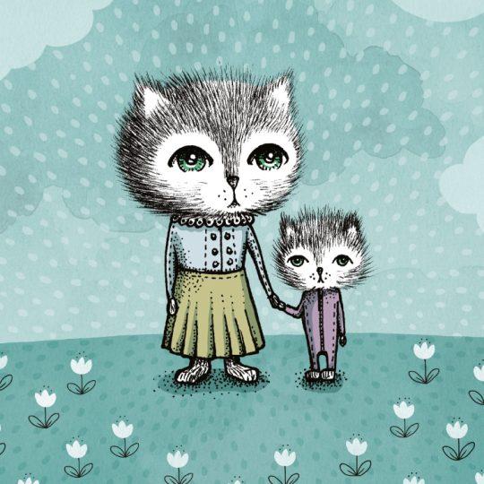 Print av illlustrationen Katter, closeup