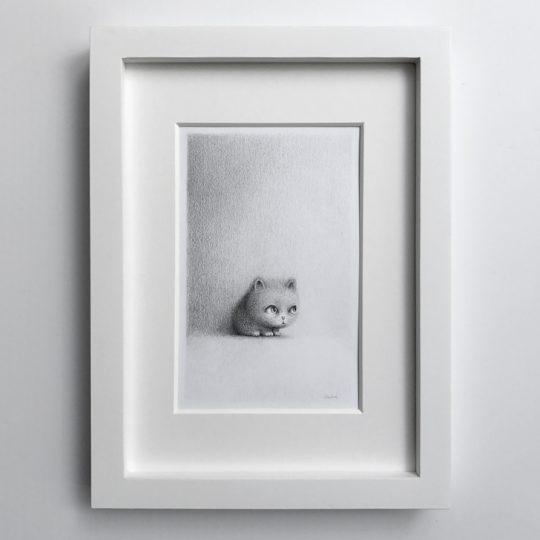 Illustration, blyertsteckning av katt